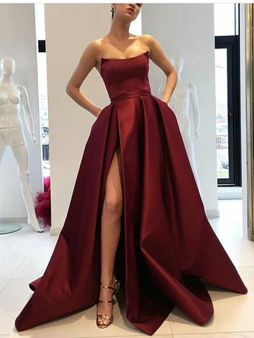 2018 Ball Gowns Burgundy Prom Dress Strapless Satin Long Prom Dresses Evening Dress AMY1308