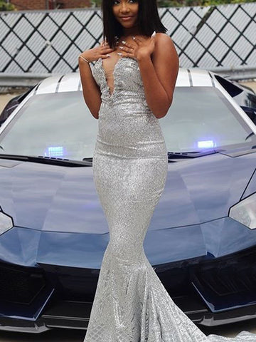 Trumpet/Mermaid Silver Prom Dress Sparkly Long Prom Dresses Evening Dress AMY1310