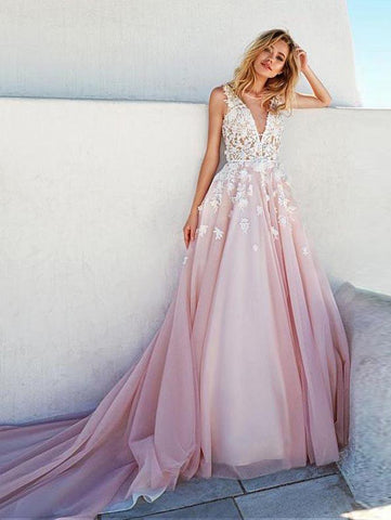 2018 A-line V neck Prom Dress Sweep/Brush Train Lace Tulle Prom Dress Evening Dress AMY1312