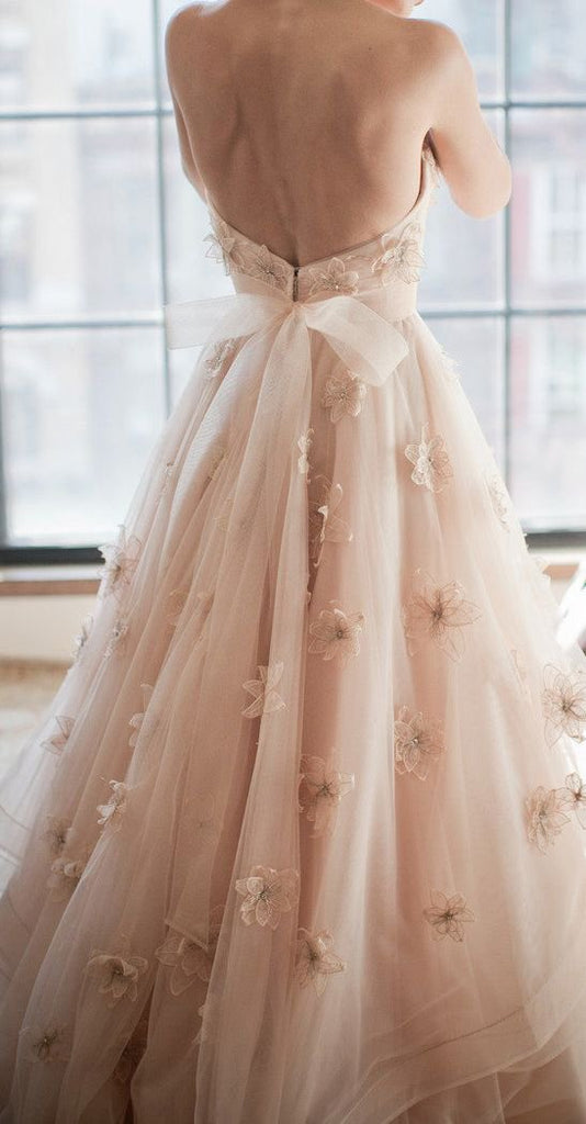 92d73f70c ... 2018 A-line Sweetheart Sweep/Brush Train Romantic Lace Tulle Blush  Wedding Dress AMY1314 ...