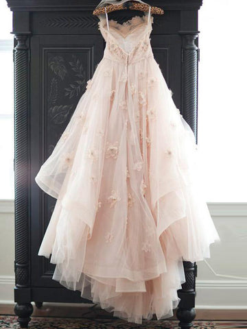 2018 A-line Sweetheart Sweep/Brush Train Romantic Lace Tulle Blush Wedding Dress AMY1314