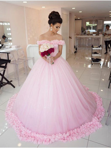 Pink Ball Gowns Wedding Dress Off-the-shoulder Long Prom Dress Evening Dress AMY1315