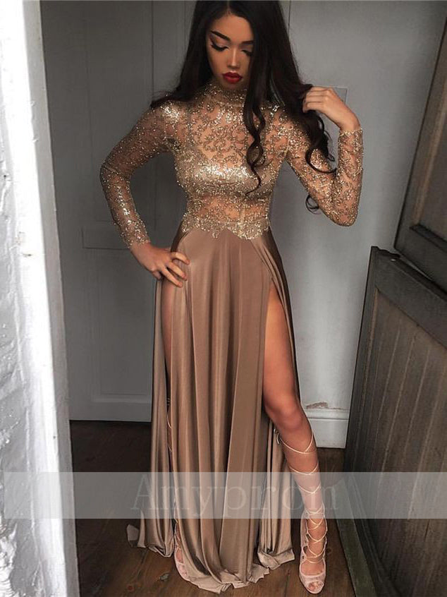 2018 A-line Long Sleeve Prom Dress With Slit Beading Long Prom Dresses Evening Dress AMY1317