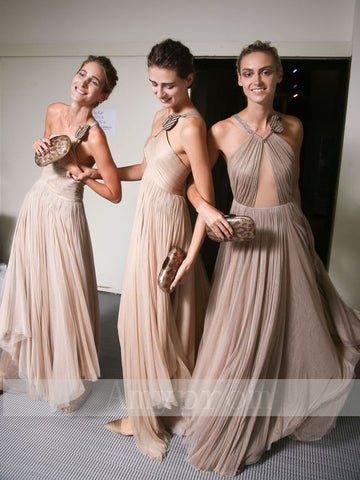 A-line One Shoulder Chiffon Cheap Prom Dress Bridesmaid Dress AMY1320