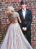 A-line Deep V Neck Prom Dress Floor Length Tulle Long Prom Dresses Evening Dress AMY1328