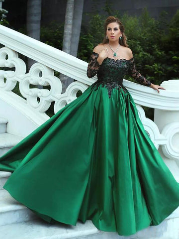 Ball Gowns Off-the-shoulder Prom Dress With Long Sleeve Lace Long Prom Dresses Evening Dress AMY1330