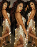 2018 Sheath/Column Gold Prom Dress Halter Sparkly Long Prom Dress Evening Dress AMY1333