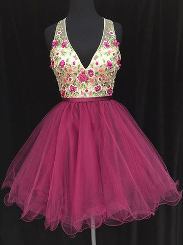 A-line V neck Short/Mini Prom Dress Embroidery Prom Dresses Short Homecoming Dress AMY1334