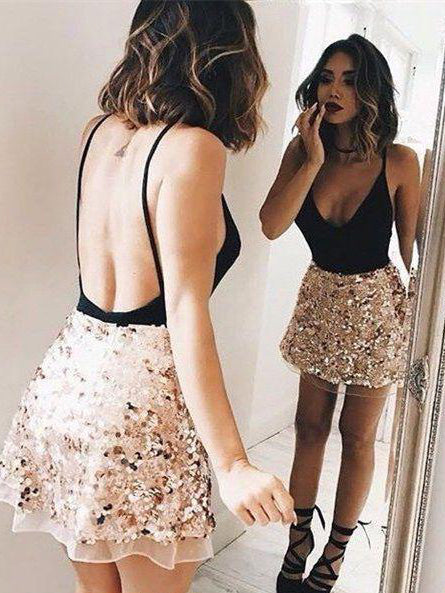 A-line Straps Short/Mini Prom Dress Sequins Prom Dresses Short Homecoming Dress AMY1335