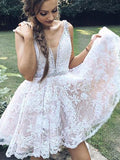 2018 A-line White Short Prom Dress Straps Lace Short Prom Dress Homecoming Dress AMY1338