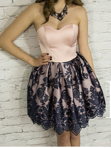 A-line Sweetheart Short Prom Dress Short/Mini Lace Short Prom Dresses Homecoming Dress AMY1341