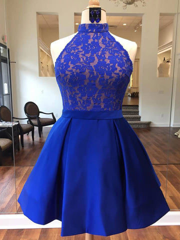 2018 A-line Royal Blue Short Prom Dress High Neck Lace Short Prom Dress Homecoming Dress AMY1344