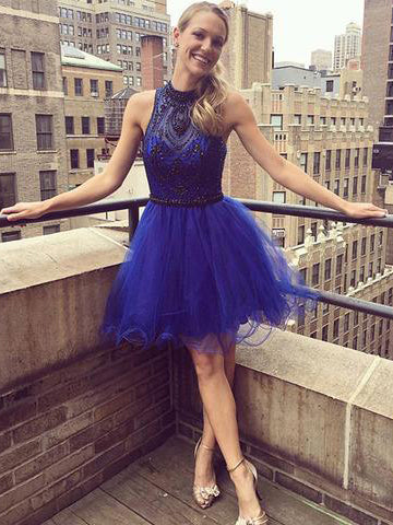 2018 A-line Royal Blue Short Prom Dress High Neck Beading Short Prom Dress Homecoming Dress AMY1351