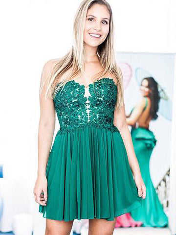 2018 A-line Green Short Prom Dress Sweetheart Lace Short Prom Dress Homecoming Dress AMY1352
