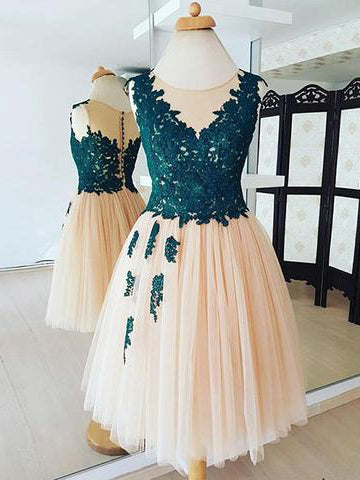 2018 A-line Dark Green Short Prom Dress Scoop Lace Short Prom Dress Homecoming Dress AMY1354