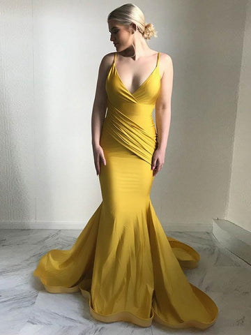 Trumpet/Mermaid Spaghetti Straps Floor Length Prom Dress Cheap Long Prom Dress Evening Dress AMY1355