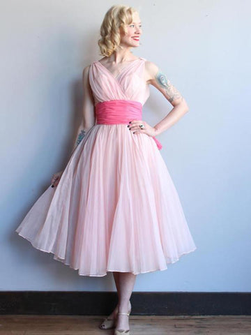 A-line V neck Tea Length Short Prom Dress Vintage Pink Prom Dresses Evening Dress AMY1357