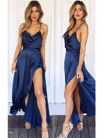 A-line Spaghetti Straps Prom Dress With Slit Royal Blue Long Prom Dresses Evening Dress AMY1364