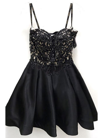 A-line Spaghetti Straps Black Short Prom Dress Beading Short Prom Dresses Homecoming Dress AMY1367