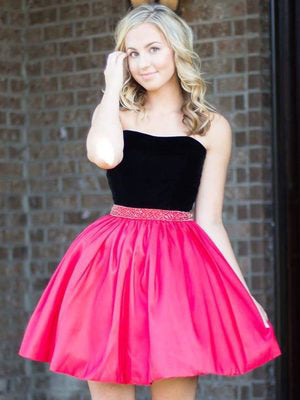 A-line Strapless Black Short Prom Dress Cheap Short Prom Dresses Homecoming Dress AMY1368