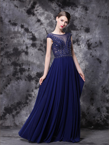 Chic A-line Prom Dresses Royal Blue Floor-length Scoop Modest Long Prom Dress AMY136