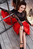 A-line Scoop Black Red Short Prom Dress Long Sleeve Lace Short Prom Dresses Homecoming Dress AMY1370