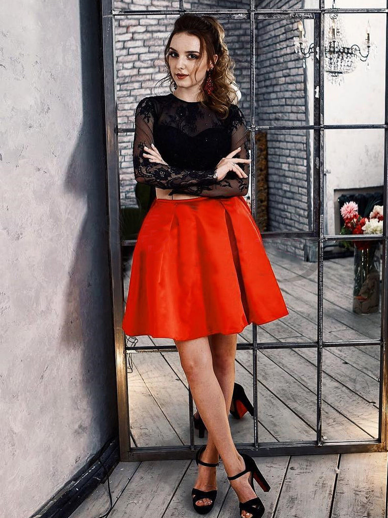 c4819a16a33 A-line Scoop Black Red Short Prom Dress Long Sleeve Lace Short Prom Dresses  Homecoming