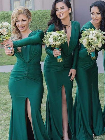 Trumpet/Mermaid Deep V Neck Long Sleeve Cheap Prom Dress With slit Bridesmaid Dress|Amyprom