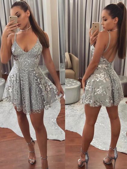 A-line Spaghetti Straps Short/Mini Prom Dress Silver Sequins Cocktail Dress Homecoming Dress AMY1381