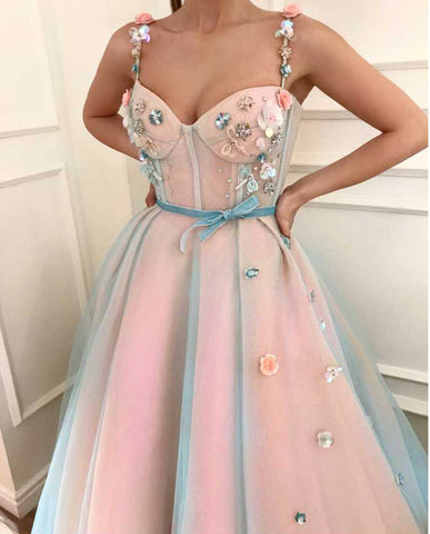 A-line Straps Long Prom Dress With Floral Beading Modest Long Prom Dresses Evening Dress|Amyprom