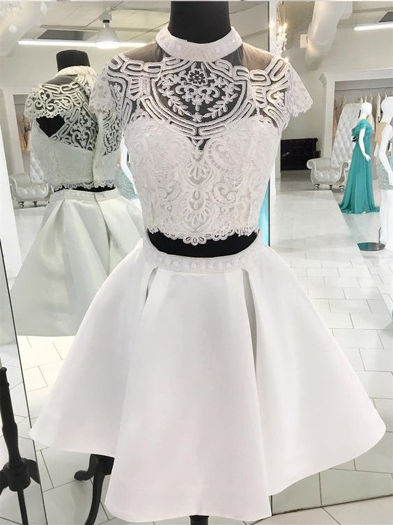 Two Pieces A-line Scoop White Short Prom Dress Lace Short Prom Dresses Homecoming Dress AMY1388