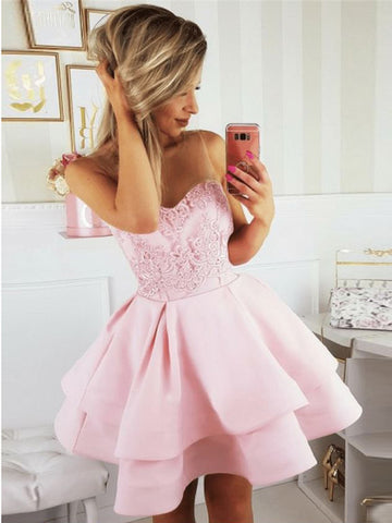 A-line Scoop Pink Short Prom Dress Lace Short Prom Dresses Homecoming Dress AMY1389