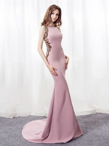 Mermaid Prom Dresses Pink Sweep/Brush Train Bateau Long Prom Dress With Beading AMY138
