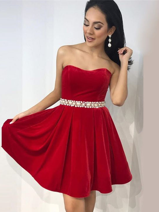A-Line Sweetheart Red Knee Length Prom Dress Homecoming Dresses|Amyprom