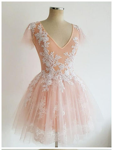 A-line V neck Peral Pink Short Prom Dress Lace Cute Short Prom Dresses Homecoming Dress AMY1393