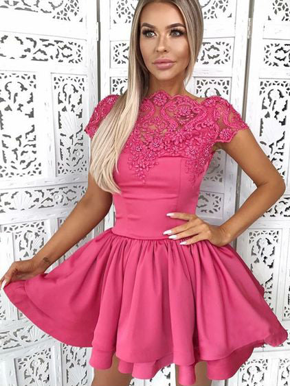 A-Line Bateau Short/Mini Prom Dress With Lace Homecoming Dresses|Amyprom