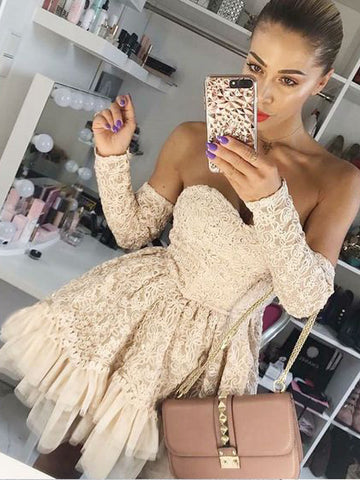 A-Line Off-the-shoulder Short/Mini Long Sleeve Prom Dress Homecoming Dresses|Amyprom