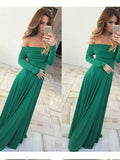 A-line Off-the-shoulder Long Sleeve Simple Cheap Long Prom Dress Evening Dress AMY1396