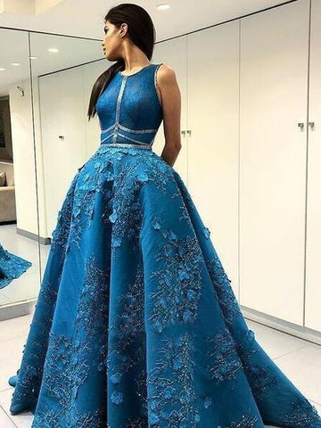 A-line Scoop Long Prom Dress With Lace Dark Blue Long Prom Dresses Evening Dress AMY1397