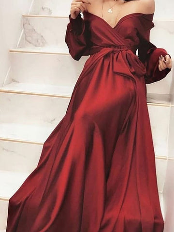 A-line Off-the-shoulder Long Sleeve Burgundy Long Prom Dress Evening Dress|Amyprom
