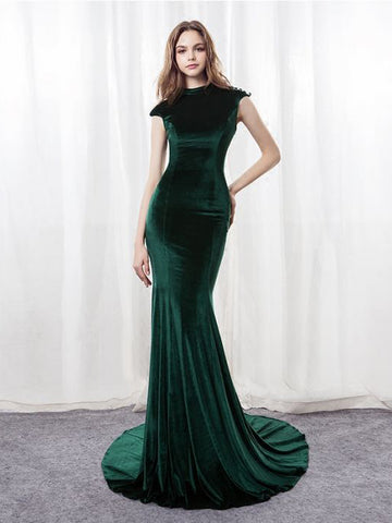 Mermaid Prom Dresses Dark Green Sweep/Brush Train Scoop Long Prom Dress AMY139