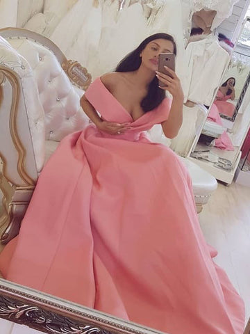 A-line Off-the-shoulder Long Prom Dress Simple Cheap Long Prom Dresses Evening Dress AMY1401