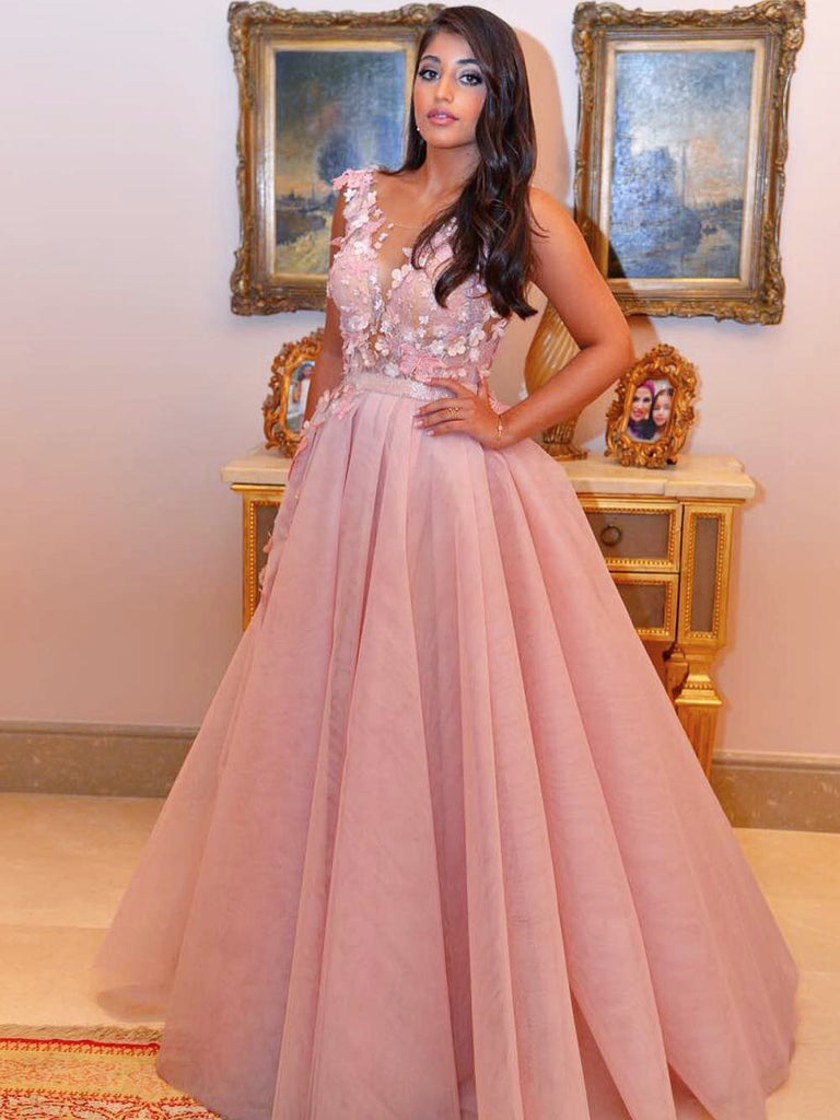 A-line Scoop Long Prom Dress Lace Pink Cheap Long Prom Dresses Evening Dress AMY1404