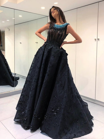 A-line Scoop Long Prom Dress With Lace Beading Black Modest Long Prom Dresses Evening Dress AMY1405
