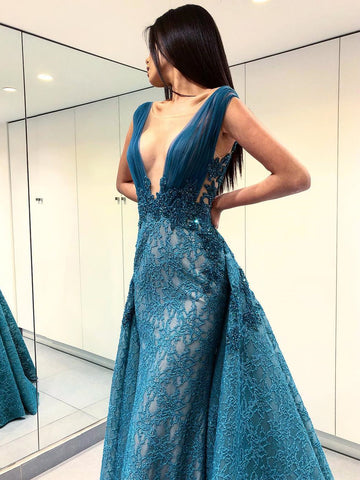 A-line Scoop Long Prom Dress With Lace Dark Blue Long Prom Dresses Evening Dress AMY1407
