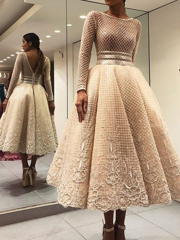 Scoop Long Sleeve Prom Dress 2018 Tea Length Lace Prom Dresses Evening Dress AMY1408