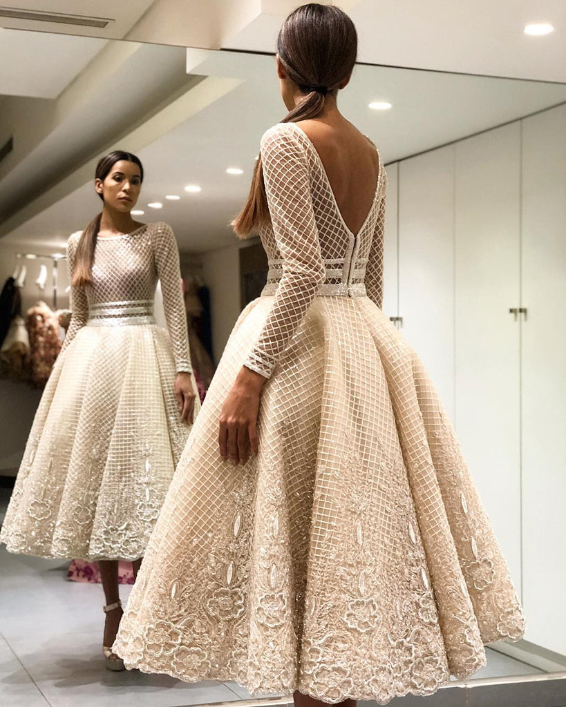1aa01b21ab8 ... Scoop Long Sleeve Prom Dress 2018 Tea Length Lace Prom Dresses Evening  Dress AMY1408 ...