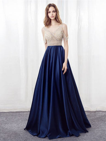 Chic A-line Prom Dresses Royal Blue Floor Length Straps Long Prom Dress AMY140