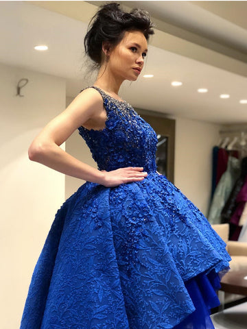 A-line Scoop High Low Prom Dress With Lace Royal Blue Asymmetrical Prom Dresses Evening Dress AMY1410