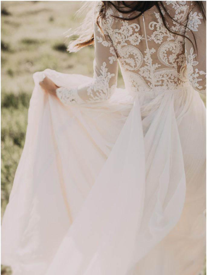 A-line Scoop Lace Wedding Dress Long Sleeve Rustic Wedding Dresses|Amyprom
